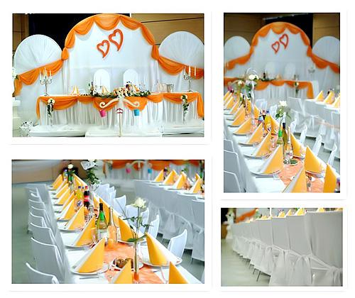 Tischdeko Hochzeit Apricot-Orange
