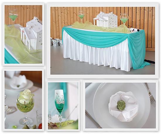 Tischdeko Hochzeit Aquamarin