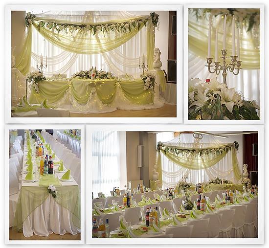 Tischdeko für Hochzeit in Grün-Weiß