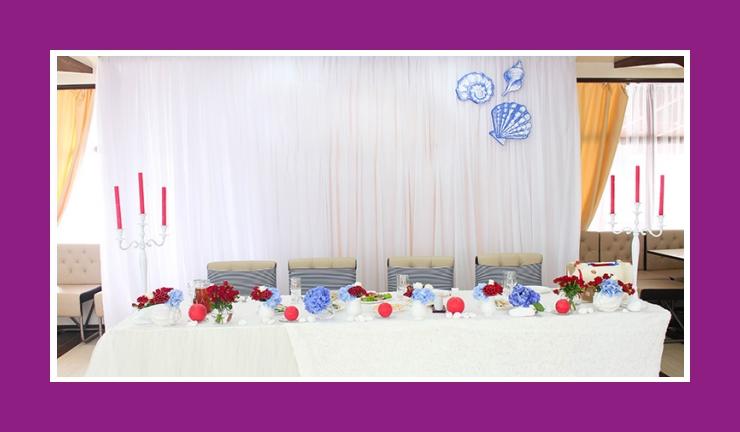 Rot und Blau Tischdeko