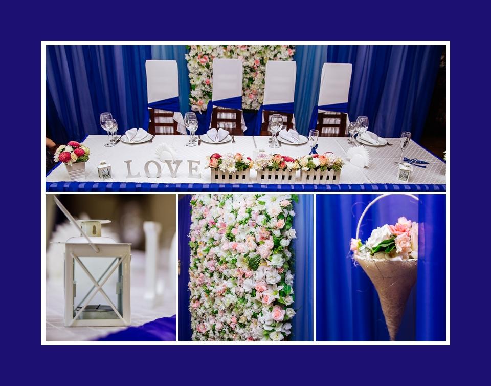 Tischdeko Blau Hochzeitsdeko Blumen