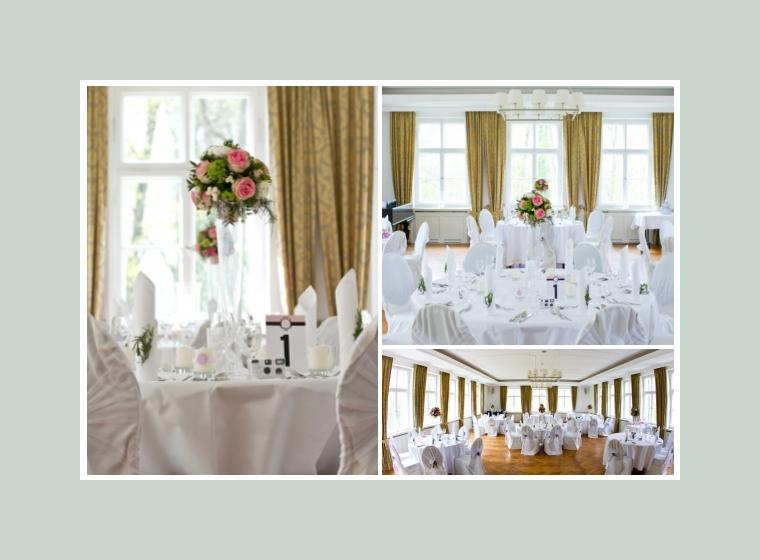 Weiße Hochzeitsdeko mit Rosen