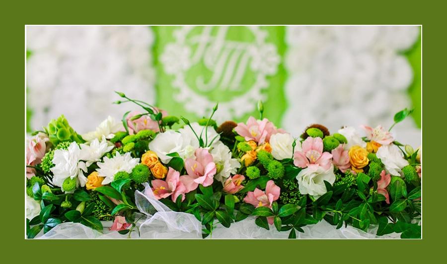 Blumenschmuck für Hochzeit in Grün