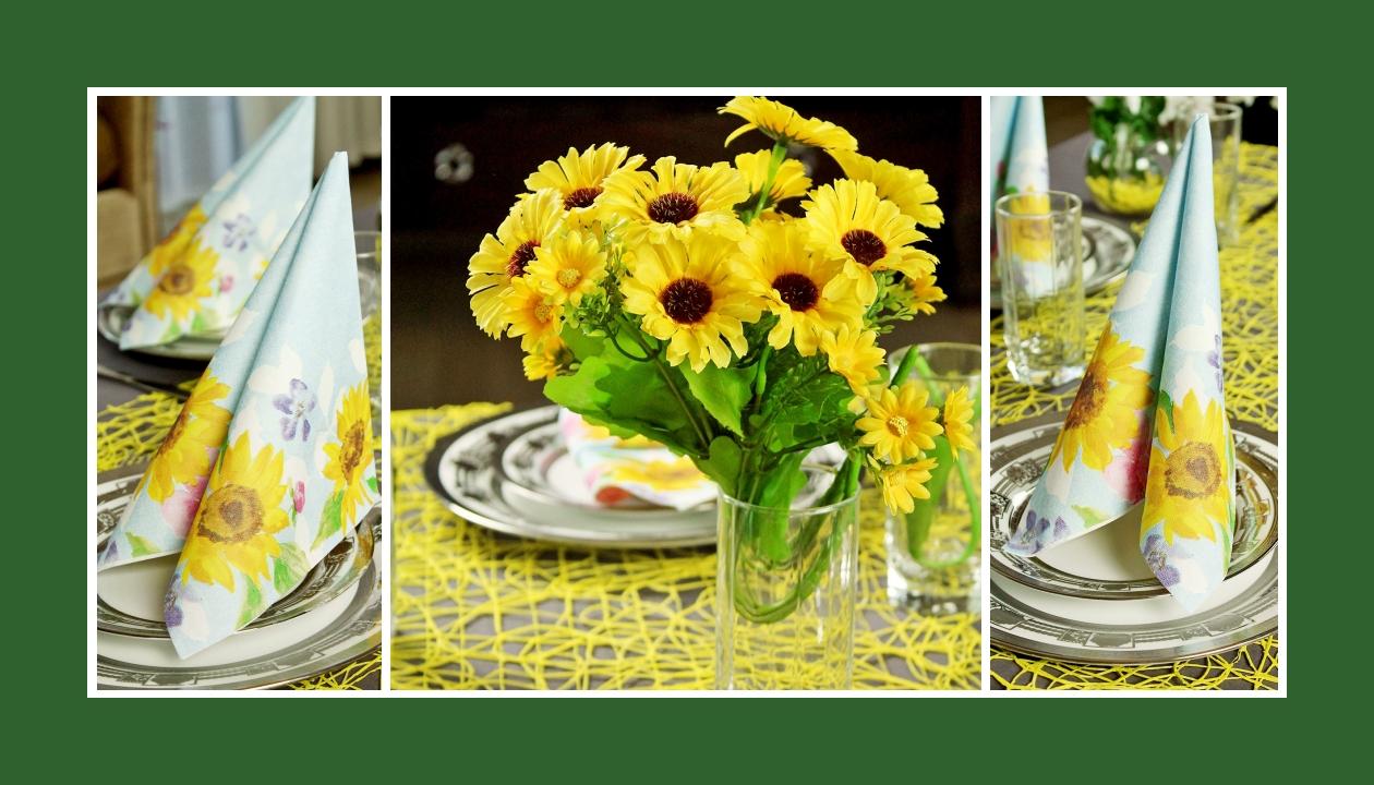 Deko Idee Hochzeit in Gelb Blumen