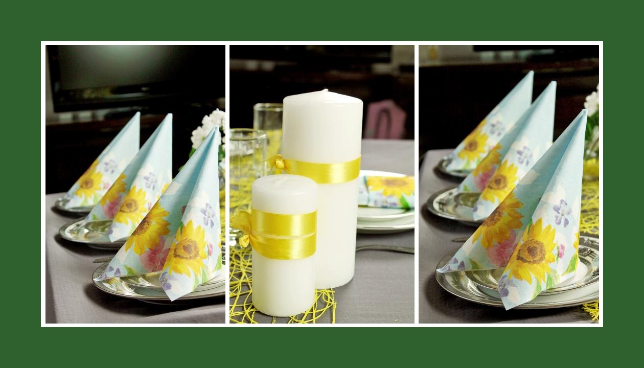Deko Idee Hochzeit in Gelb Kerze elegant