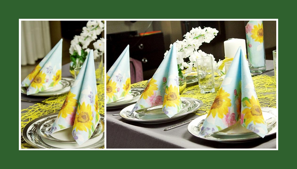 Deko Idee Hochzeit in Gelb Servietten falten