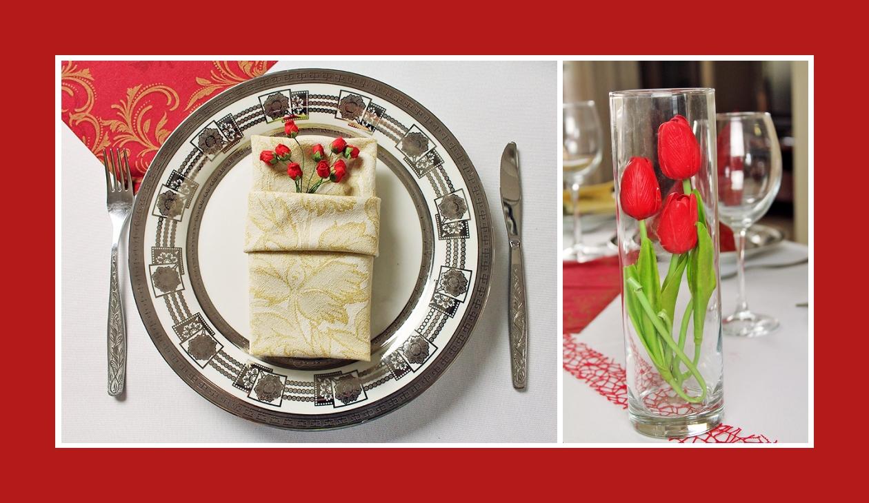 Deko Idee Hochzeit in Rot mit Blumendeko Stoffservietten