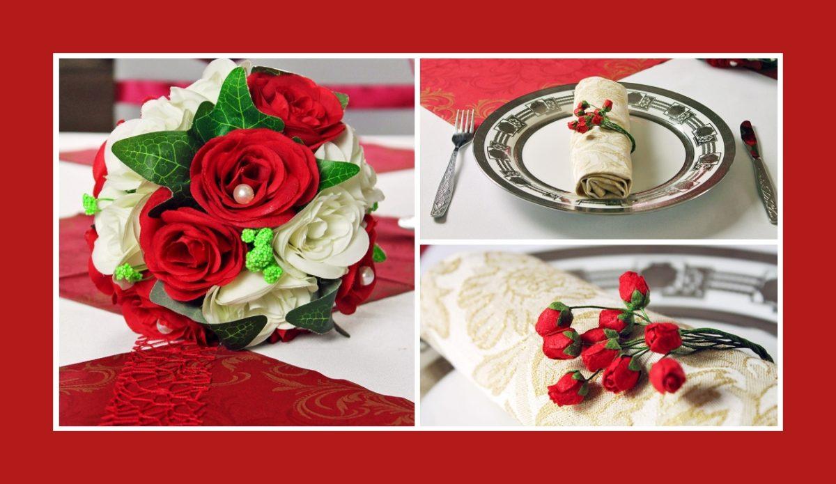 Hochzeitsdeko in Rot mit Blumendeko und Servietten