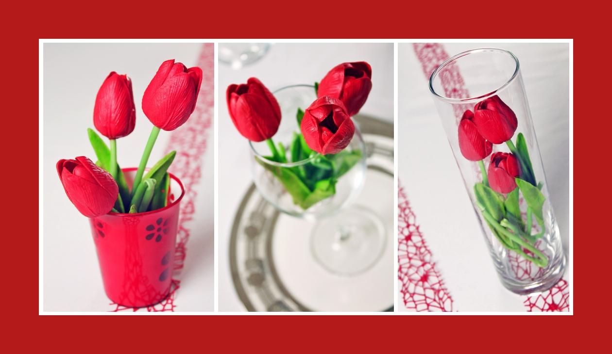 Deko Idee Hochzeit in Rot Tulpen