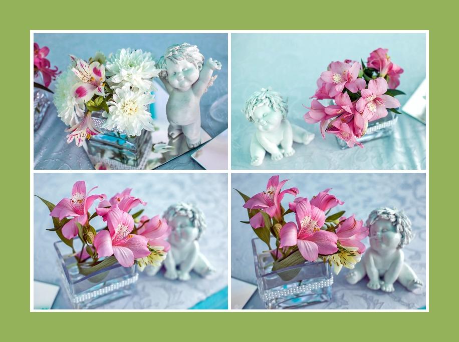 Tischdeko und Blumen in Rosa für Taufe