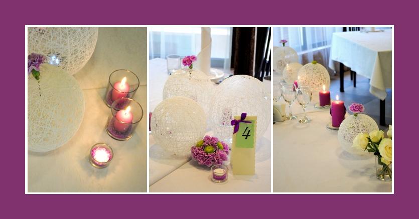 Deko in der Mitte der runden Tische mit lila Kerzen, Blumen, weißen Dekokugeln