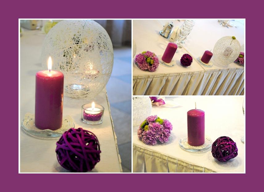 Lila Blumengestecke aus Nelken und violette Dekokugeln für Tischdeko
