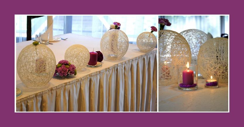 Tischdeko Hochzeitsdeko mit großen weißen Dekokugeln