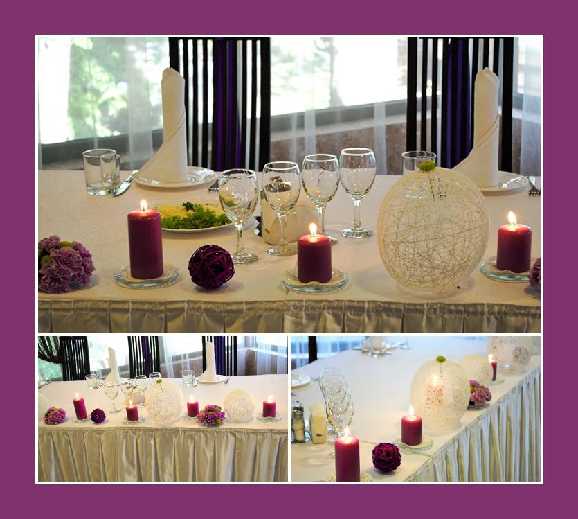 Violette Kerzen und Windlichter für die Tischdeko Hochzeit