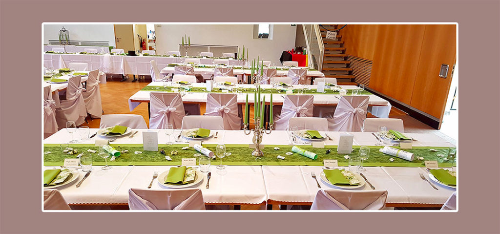 Tischdeko für Hochzeit selbst machen - Grün-weiße Hochzeitsdeko
